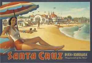 Santa Cruz & Huntington Beach travel fine art prints set of 2 Kerne Erickson