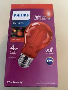 Philips 4W A19 Party Light Bulb RED -LED (BRAND NEW IN PACKAGE UNOPENED)!