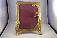 Brass Formed Lady in the Garden EAMES Era Picture or Mirror Frame. Unique