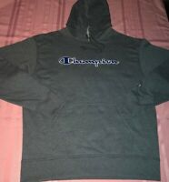 Champion Fashion Hoodie Large Gray Blue Colorful Cutting Edge Logo New