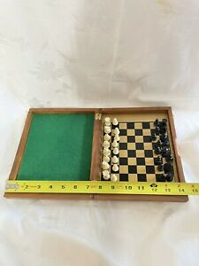 Vtg? Drueke Magnetic Travel Chess Set Wood board Model 9005 Made USA Collectible