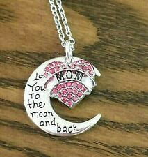 """New MOM Necklace """"I Love You"""" Pink Crystal Heart Mom Gift Mother's Day"""