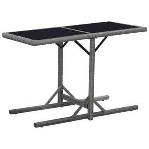 Glass and Poly Rattan Garden Table - Black