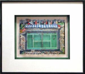 """Tennis"" Charles Fazzino FRAMED Limited Edition Serigraph 3D Pop Art Sports"