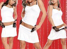 SeXy Miss Damen 2 Teiler Mini Rock Top Schleifen Dekollette S/M 34/36 weiß neu