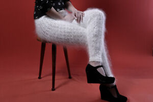 New Handmade White leggings mohair cashmere NATURAL GOAT DOWN very warm Size S