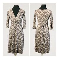 White Stuff Jersey Dress Size 12 Brown Floral Pattern Tie Back Smart Casual Work