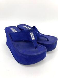 VTG 90's Y2K Bongo Chunky HIGH Platform Thong Flip Flops SANDALS Blue 8M