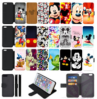 MICKEY MOUSE Disney Wallet Flip Phone Case iPhone 4 5 SE 6 7 8 Plus X Comp