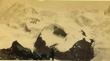 Hiker, Snow,Alps 6B Mountains  Switzerland. Albumen Print