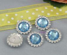 10 Light Blue Gem Rhinestone Crystal Shank Round Silver Tone Button Sewing Craft