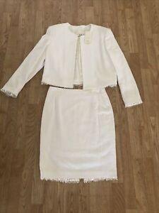 Escada Margaretha Ley 2 PC Skirt Suit White Sequin Trim  Size 40 NWT