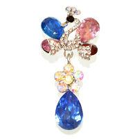 BROCHE mujer plata cristales rojos rosados azul strass piedras prendedor CC10