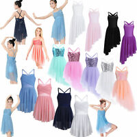 UK Girls Kids Sequins Ballet Dance Dress Gymnastics Leotard Dancewear Costume
