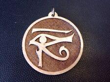 """Eye Of Horus Necklace Goddess Wadjet Maplewood pendant 1.75"""" Spirituality #Gift"""