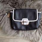 Coach Black White Pebbled Leather Silver Tone Rectangular Small Wristlet Bag
