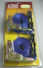 2 MOTO cinture di serraggio 5 METRI CRICCHETTO cinghie gancio zurrgurte support straps
