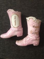 Pair Antique Germany Porcelain Souvenir Boots Vases Topeka Ks and Fitchburg Ma