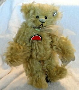 """Tan Mohair 10"""" Watermelon """"Melonie"""" plush bear from Annette Funicello w/ stand"""