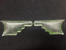 pair Green Vaseline glass Arrow Elevator car truck turn signal hand uranium lens