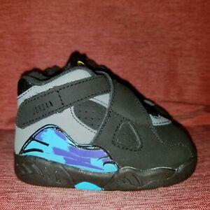 Nike Jordan VIII 8 Retro BT Aqua Black Toddler 305360-025 Size 4c