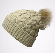 CH Fur Pom Pom Knit Slouchy Baggy Beanie Lined Winter Hat Ski Cap Skull Women