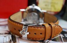 OMEGA 20mm Custom Bronceado Y Plata Hebilla Correa de cuero para su Reloj Vintage -! nuevo!