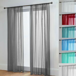 Sheer Voile Curtain Panel Lucy Slot Top Plain Curtain Top Quality Voile Single