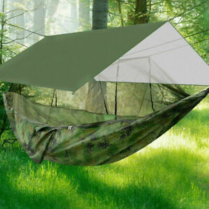 Double Person Camping Hammock Travel With Mosquito Net + Rain Cover Tent Pad Mat