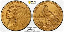 1911 $2.50 Gold Indian PCGS Secure MS 62 Great Looking Original Coin