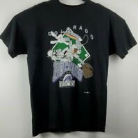 VTG Colorado Rockies Mens XL 1993 Single Stitch Bugs Bunny T Shirt Black
