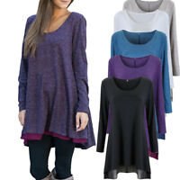 Women Winter A-Line Long Sleeve Blouse Layered Scoop Neck Tunic Loose Fit Dress