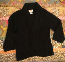 Talbots Cashmere & Silk Shawl Collar Black Jacket Sweater - Size S