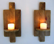 PAIR OF 48CM RECLAIMED PALLET WOOD FLOATING SHELF / WALL SCONCE CANDLE  HOLDER
