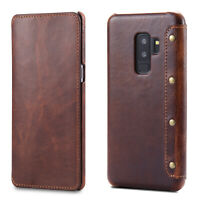 For Samsung Galaxy S10 9 Plus Note 8 Genuine Leather Flip Wallet Card Case Cover