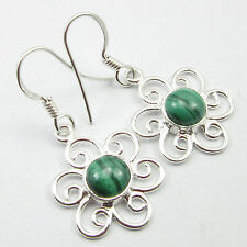 "Unseen Beautiful Green Malachite Jewelry 925 Sterling Silver Earrings 1.4"","