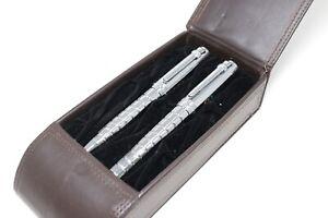 Vintage Cutter Buck Pen Pencil Set In Presentation Box Large Chrome Omega 9 Oils