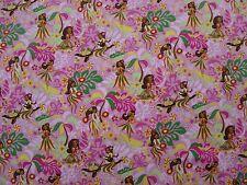 New Hawaiian Hawaii Hula Girls Pink Print Fabric BTY