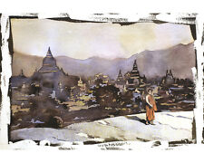 Monk at Bagan ruins- Myanmar.  Fine art reproduction of watercolor painting