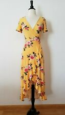 Anthropologie Maxi Dress New Size Medium Yellow Floral Faux Wrap Spring