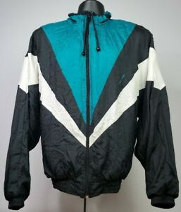Vintage Pierre Cardin Nylon Track Jacket Black Teal  White 80's Mens Size Large