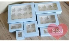 10x Cupcake Cardboard Box Blue 1 2 3 4 Holes Insert Holder Window Cake Container