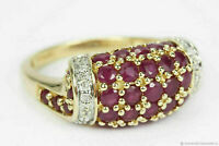2 Ct Round Cut Red Ruby & Diamond Cluster Engagement Ring 14k Yellow Gold Over 7