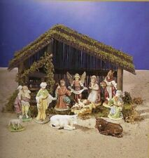 11 PIECE CERAMIC NATIVITY SCENE SET WITH WOOD STABLE NEW