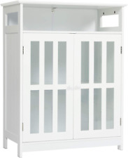 Modern Sideboard Buffet Storage Cabinet with Tempered Glass Doors & Shelf White