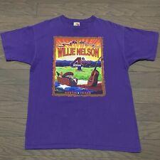 Willie Nelson July 4th 2000 Austin Texas L Mens Heavy Cott Tee Shirt Purple Rare