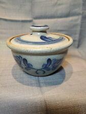 Rowe Pottery Works Salt-Glaze Crock/Baker.  Tulip Design.  Vintage 1988