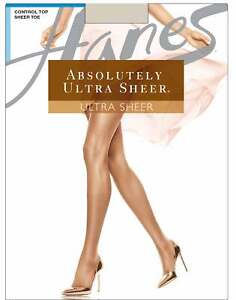 Hanes Absolutely Ultra Sheer Pantyhose Control Top Toe Stockings Nylon Hosiery