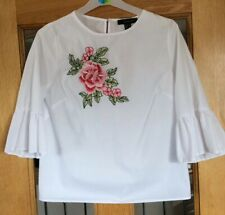 White Flower Print Top Shirt Blouse Size 8