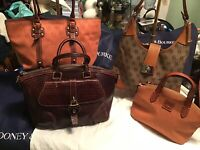 Dooney Bourke LOT 4 DB Logo Fabric Leather Totes Hobo Satchel Shades Of BROWN